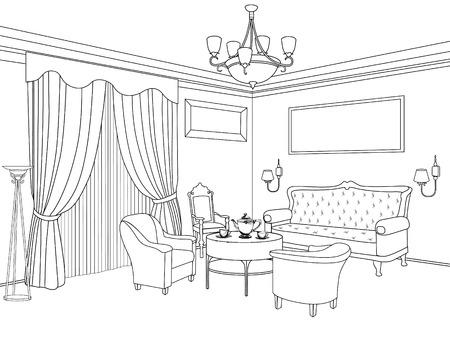 Interior outline sketch. Furniture blueprint. Architectural design. Living room Stock Illustratie
