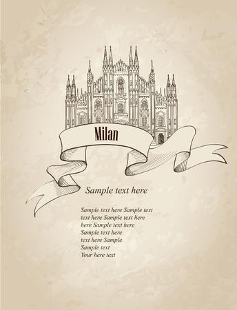 milánó: Milan citiy szimbólum Dome Cathedral. Olasz mérföldkő címke alatt régi papír háttér másolatot helyet. Utazás Olaszország beállítani. Illusztráció