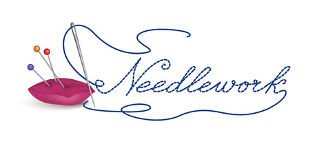 Needle and thread icon. Sewing sign. Needlework symbol button.