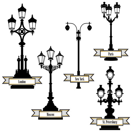 Street lamp label set. Street lights of London, PAris, New-York, Moscow, St Petersburg retro collection.  Vector