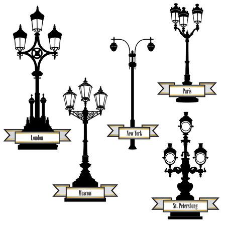 streetlight: Street lamp label set. Street lights of London, PAris, New-York, Moscow, St Petersburg retro collection.