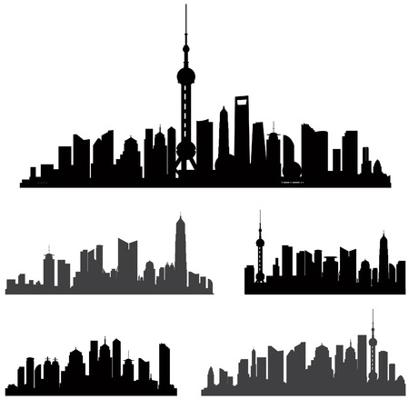 shanghai: Shanghai skiline set. Buildings silhouette collection. Illustration