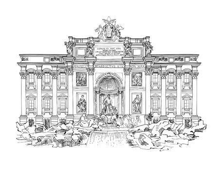 로마의 유명한 랜드 마크 트레비 분수입니다. 이탈리아의 관광. 일러스트