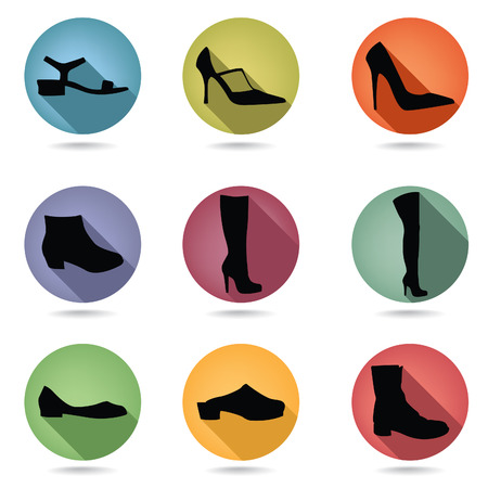 loafer: Shoes icon set. Fashion boots button collection.