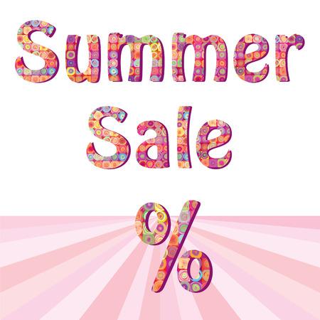 Summer sale sign illustration design over white Vector