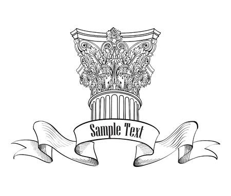 colonna romana: Etichetta di colonna in stile classico. Segno arhitectural iosolated. Colonna romana. Arch disegno schizzo Vettoriali