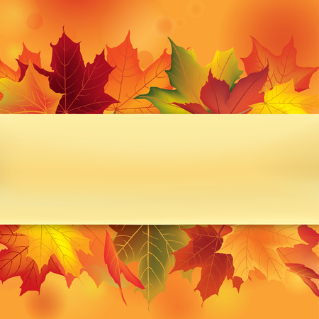 fall leaves border: Autumn frame with leaves. Fall maple leaf background with copy space. Illustration