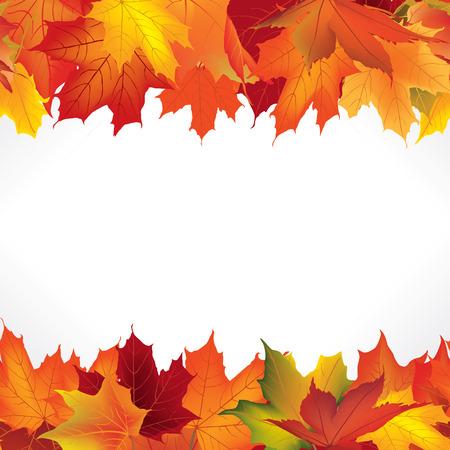 葉と秋のフレーム。コピー スペースと秋のシームレスな境界線の背景。