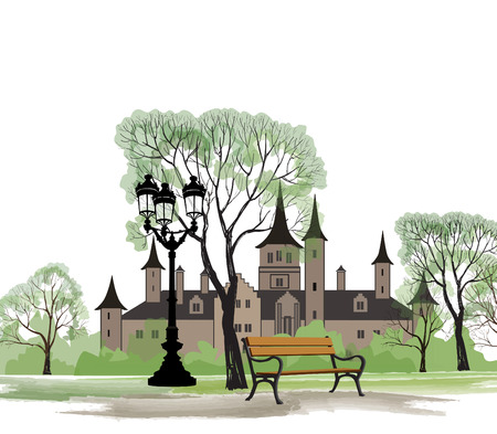 lawn furniture: Bench in park