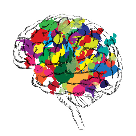 a thinker: Bright Brain concept. Vector isolated.