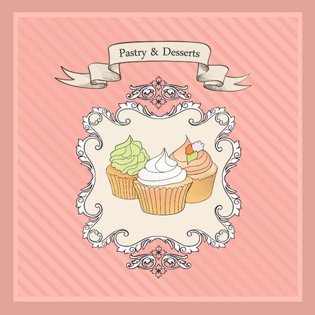 cakes background: Cakes Background. Retro Bakery Label. Sweets and Desserts Menu. Vector Poster.