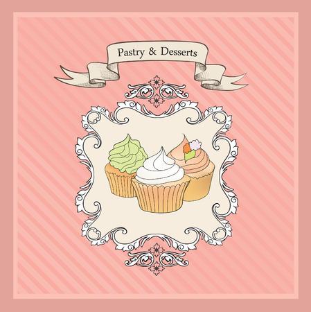 cakes background: Tortas de fondo. Retro Panader�a Label. Dulces y Postres Men�. Cartel del vector.
