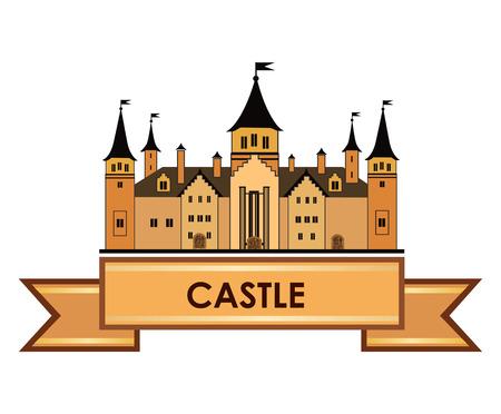 古い城のラベル。レトロなベクトル  イラスト・ベクター素材
