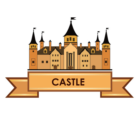 stronghold: Old castle label. Retro vector