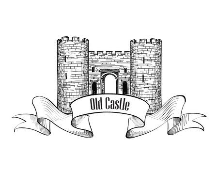 chateau: Castle . Retro vector label. Illustration