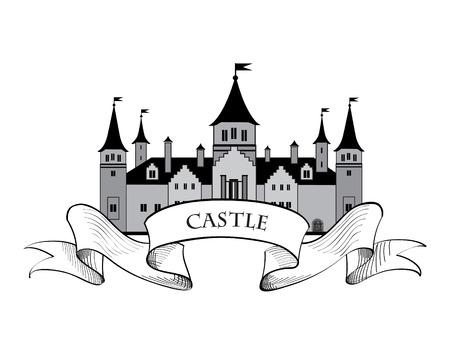 城。レトロなベクトルのラベル。