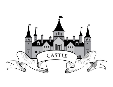 Castle . Retro vector label. 向量圖像