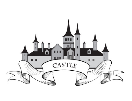 chateau: Castle . Fortress isolated on the white background. Retro vector label.