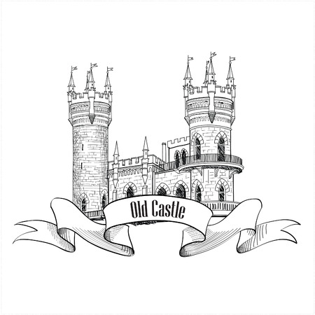 Castle . Retro vector building label. Vector