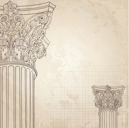 hellenistic: Classic columns seamless background. Roman corinthian column. Illustration onold paper background for design sketch