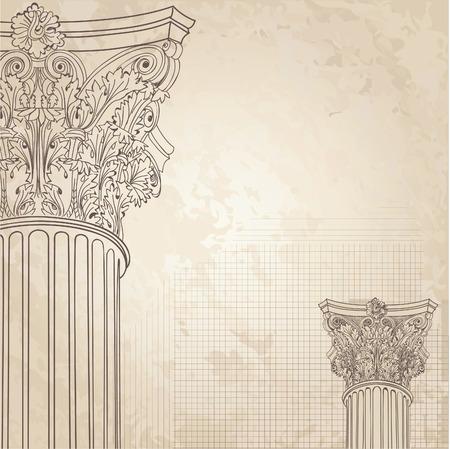 Klasické sloupce bezešvé pozadí. Roman Korintský sloup. Ilustrace onold papírové pozadí pro design skica