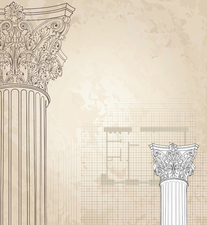 Classic columns seamless background. Roman corinthian column. Illustration on white background for design sketch Vector