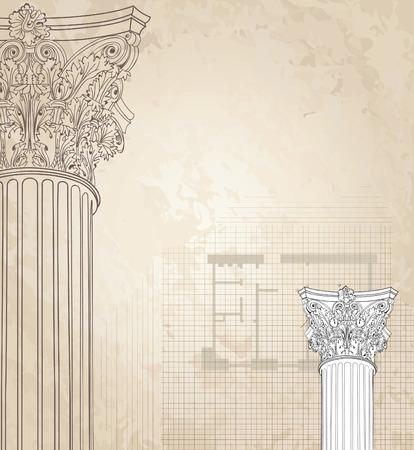 columna corintia: Columnas cl�sicas de fondo sin fisuras. Columna corintio romano. Ilustraci�n sobre fondo blanco para el bosquejo del dise�o