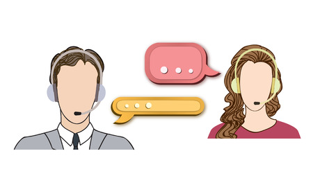 Call center concept with man and woman in headset. Vector icon set. Customer service avatar.