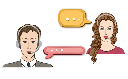 face centered: Call center concept with man and woman in headset. Vector icon set. Customer service avatar.