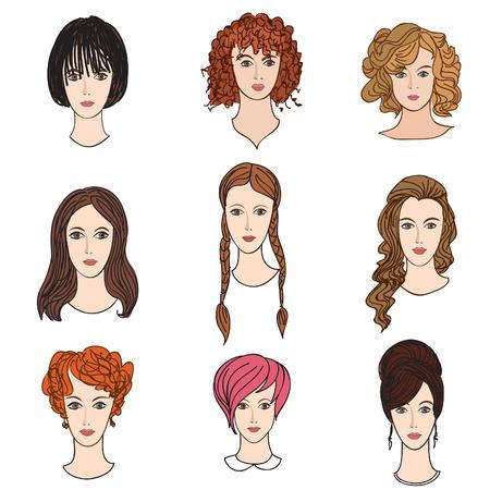 アバター アイコンを設定します。さまざまな髪のスタイルを持つ美しい若い女の子  イラスト・ベクター素材