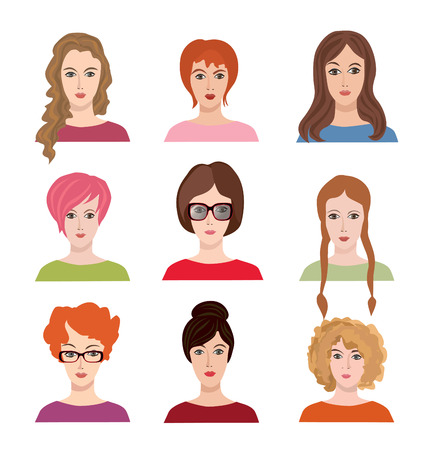 call centre girl: Avatar icon set. Beautiful young girls with various hair style