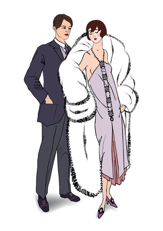 flirting: Couple flirting on party. Man and woman in cocktail dress in vintage style 1920s. Illustration