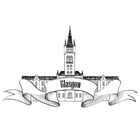 english famous: Travel Scotland sign. Glasgow University, UK. English city famous building. Vector label isolated.
