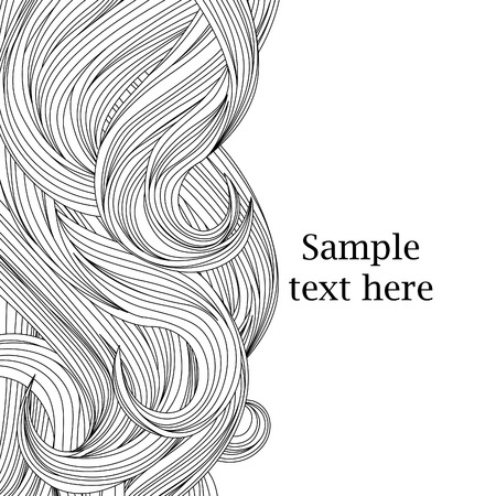 long hair: Hair outlined background Illustration