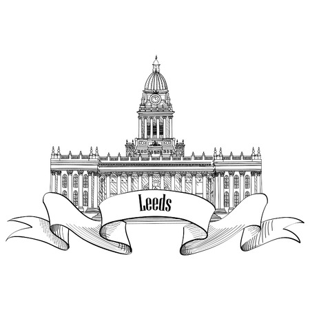 english famous: Travel England sign. Leeds Rathaus, UK, Great Britan. English city famous building. Vector label isolated.