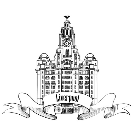 Travel England sign. Liverpool Liver Building, UK, Great Britan. English city famous building. Vector label isolated. Vettoriali