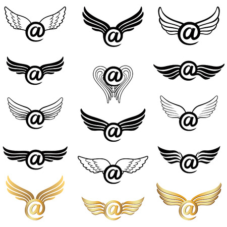 Mail icon set  winged Vector