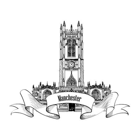 britan: Travel England sign. Manchester cathedral, UK, Great Britan. English city famous building. Vector label isolated.