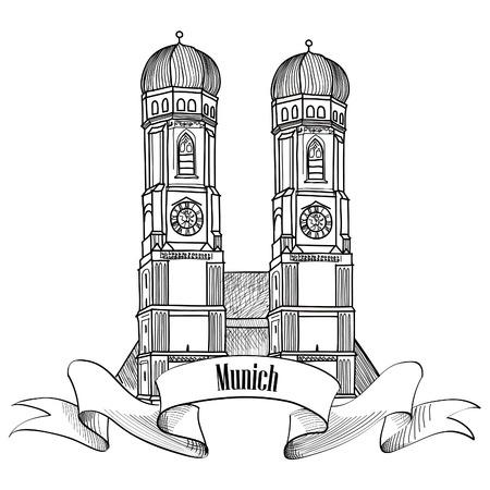 Munich étiquette de ville. Cathédrale de Munich, Liebfrauenkirche à Munich / Allemagne Voyage emblème. Signe de capital Bavière. Banque d'images - 33530207