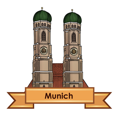 Munich city label. Munich Cathedral, Liebfrauenkirche in Munich/ Travel Germany emblem. Bavaria capital sign.