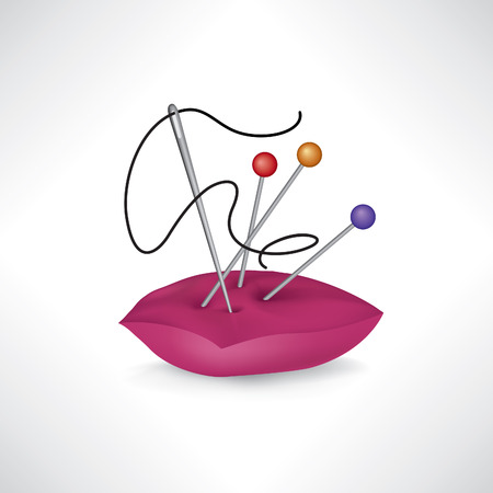 ミシン関連要素。針と糸のアイコン。サインを縫製します。針仕事のシンボルです。ミシン アクセサリー。