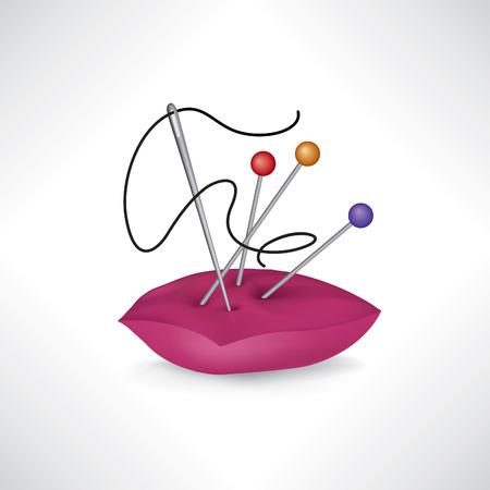 Naaien gerelateerde elementen. Naald en draad icoon. Naaien teken. Handwerken symbool. Naaien accessoires. Vector Illustratie