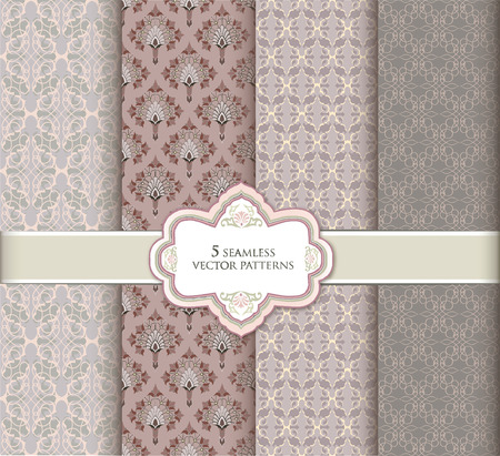 tiffany blue: Floral pattern set in vintage style. Abstract vector textured background collection.