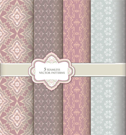 Floral pattern set in vintage style. Abstract vector textured background collection. Vector