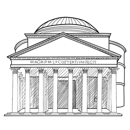 Rome famous building. Italian landmark Panteon isolated sktch illustration. Vector