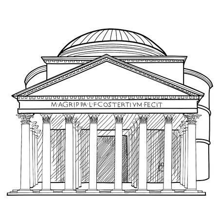 pantheon: Rome famous building. Italian landmark Panteon isolated sktch illustration.