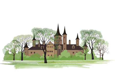 english village: Old house in park. Spring landscape with ancient castle among trees. Illustration