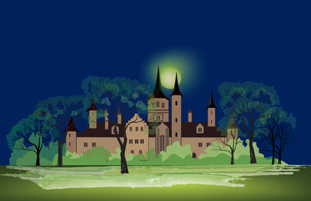 A Night in the Park with Old Building. Late Autumn Night in the Park with Castle and Milky Way. Full moon mystic night in park alley. Vector