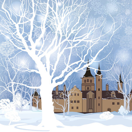 snow forest: Winter landscape with snow forest and building. Old house in park over snow. Illustration