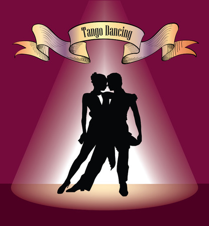 Dancing club poster. Couple dancing. Beautiful professional dancers perform tango dance with passion.